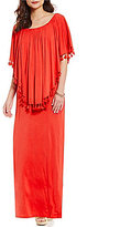 Chelsea & Theodore Popover Off the Shoulder Pom-pom Detail Maxi Dress
