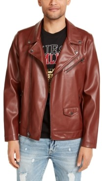 GUESS Men's Faux Leather Motorcycle Jacket