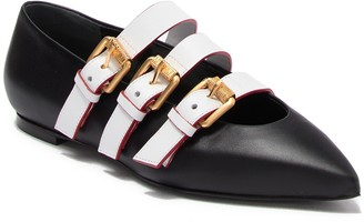 Moschino Triple Buckle Strap Pointed Toe Ballerina Flat