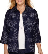 Alfred Dunner Sausalito 3/4-Sleeve Burnout Layered Top