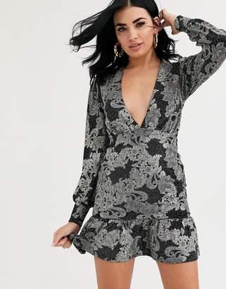 Asos Design long sleeve glitter floral plunge mini bodycon dress with pep hem-Black