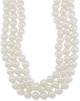 "Carolee Necklace, 72"" White Glass Pearl Rope"