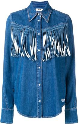 MSGM Denim Fringed Shirt