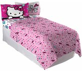 Hello Kitty White Kids Pink Reversible Floral Ombre Flat and Fitted Full Bedding Sheet for Girls (4 Piece in a Bag)
