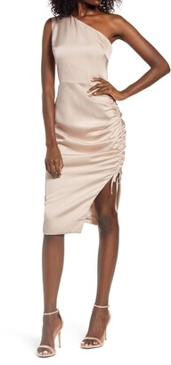 Lavish Alice Ruched One-Shoulder Satin Midi Dress
