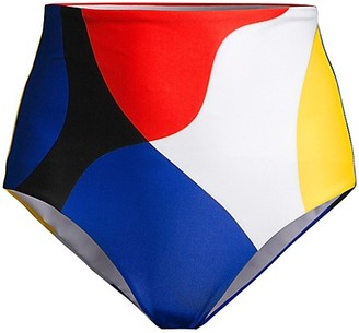 Mara Hoffman Lydia Colorblock High-Waist Bikini Bottoms