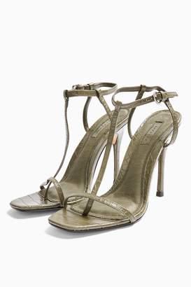 Topshop Womens Rhys T Bar High Heels - Khaki