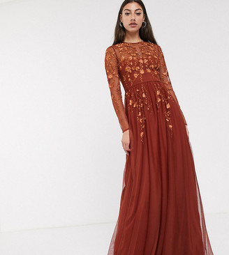 Asos Tall DESIGN Tall long sleeve maxi dress in embroidered mesh-Brown