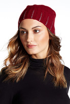 Portolano Embellished Genuine Dyed Rabbit Fur Pompom Beanie