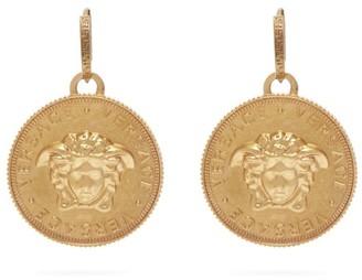 Versace Medusa Coin Brass Earrings - Gold