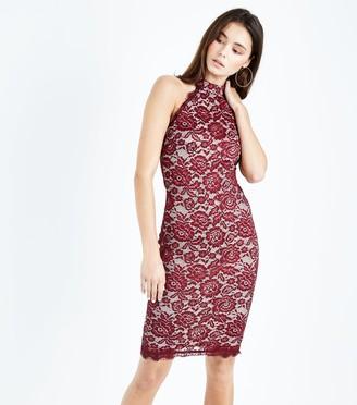 New Look AX Paris Lace High Neck Bodycon Dress