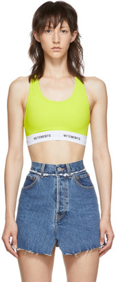 Vetements Yellow Logo Band Sports Bra