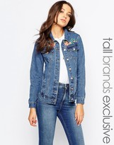 Glamorous Tall Denim Jacket With Bird And Floral Embroidery