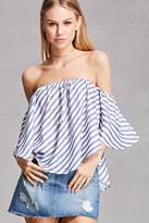 Forever 21 FOREVER 21+ Palm Tree Off-the-Shoulder Top