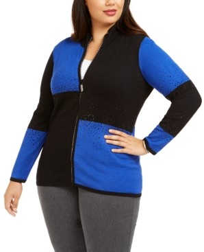 Belldini Plus Size Colorblocked Rhinestone Zip Sweater