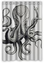 """wantsky Rustic Teen Black And White Octopus Shower Curtain (rideau de douche)s 48"""" By 72"""""""