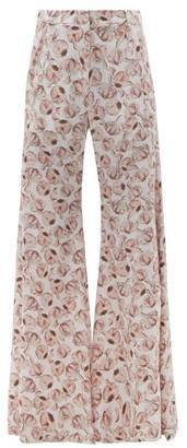 Adriana Degreas Aglio-print Silk Crepe De Chine Flared Trousers - White Print
