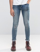 Cheap Monday Tight Skinny Jeans Off Set Blue Knee Rip