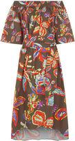 Peter Pilotto Khaki Printed Off The Shoulder Dress
