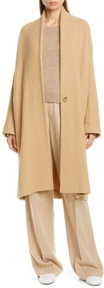 Vince Collarless Stretch Wool Coat