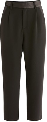 Paisie Elle Contrast Belt Trousers In Black