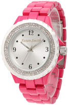 FINE JEWELRY Personalized Womens Pink Alloy And Silver Tone Dial Bracelet Watch