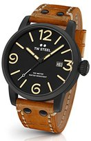 TW Steel Men's 'Maverick' Quartz Stainless and Leather Casual Watch, Color:Brown (Model: MS32)