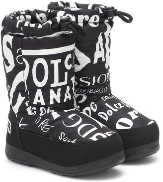 Dolce & Gabbana Kids Printed nylon snow boots