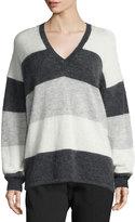 Vince Striped Mohair-Blend V-Neck Sweater, Carbon/White/Steel