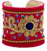 Chamak by Priya Kakkar Velvet Floral Beaded Cuff Bracelet, Magenta/Multi