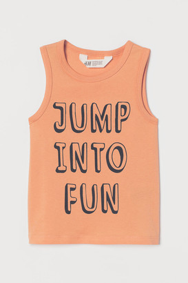 H&M Tank Top with Printed Design - Orange