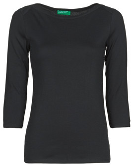 Benetton 3GA2E16A1 women's Long Sleeve T-shirt in Black