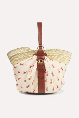 Chloé Panier Leather-trimmed Printed Twill And Woven Raffia Tote - Sand