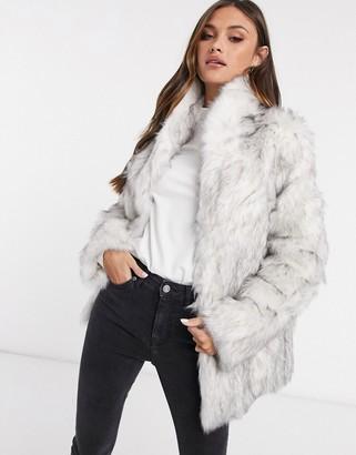 ASOS DESIGN stand faux fur collar coat in white