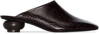 Low Classic Crocodile Effect Embossed Mules