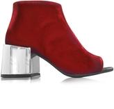 MM6 Maison Martin Margiela Red Velvet Open Toe Boot w/Mirror Heel