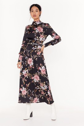 Nasty Gal Womens No Ifs or Buds Floral Satin Maxi Dress - Black