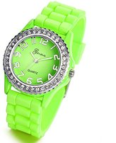 Lancardo Candy-colored Green Silicone Quartz Watches for Boys Girls Kids with Gift Bag