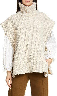 See by Chloe Side Tie Turtleneck Wool Blend Poncho