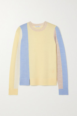 J.W.Anderson Color-block Wool Sweater - Pastel yellow