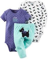 Carter's Baby Girls' 3-Pc. Scotty Dog Bodysuits & Pants Set