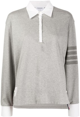 Thom Browne LS Rugby Polo In Med Weight Jersey w/ Tonal 4 Bar