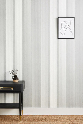 York Wall Coverings French Linen Stripe Wallpaper By York Wallcoverings in Grey