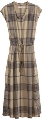 Raquel Allegra Drawstring Dress in Mint Plaid