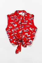 Urban Renewal Vintage Red Tropical Tie-Front Button-Down Shirt