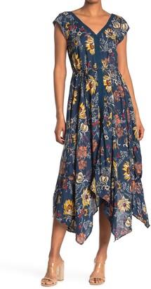 Nostalgia Apparel Floral V-Neck Handkerchief Hem Midi Dress