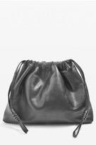 Topshop Premium Leather Drawstring Crossbody Bag - Black