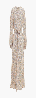 Vanessa Bruno Gathered Printed Silk Crepe De Chine Midi Dress