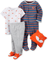 Carter's Baby Boys' 4-Pc. Fox Hat, T-Shirt, Footed Pants & Footed Coverall Set