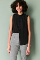 Silence & Noise Silence + Noise Keri Band Collar Button-Down Tank Top